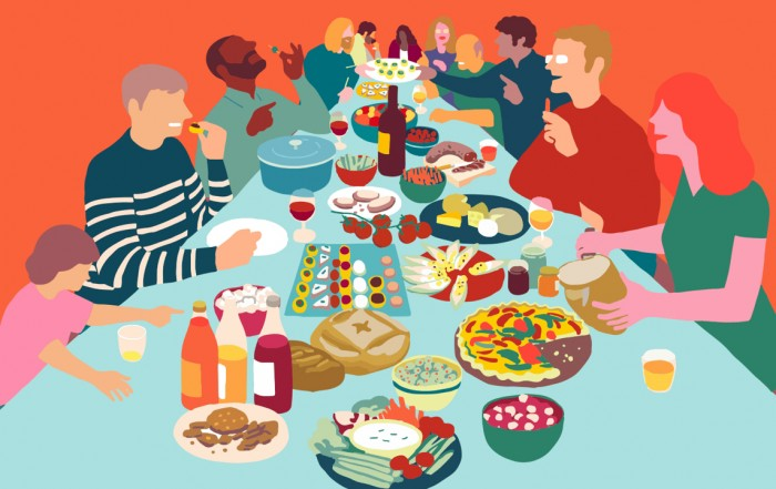 Food assembly illustration